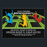 "Trampoline Park Kids Birthday Party Invitation<br><div class=""desc"">A black backdrop,  trampoline courts,  kids jumping and flying through the air and simple clean white wording.</div>"