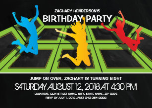 Trampoline Park Kids Birthday Party Invitation