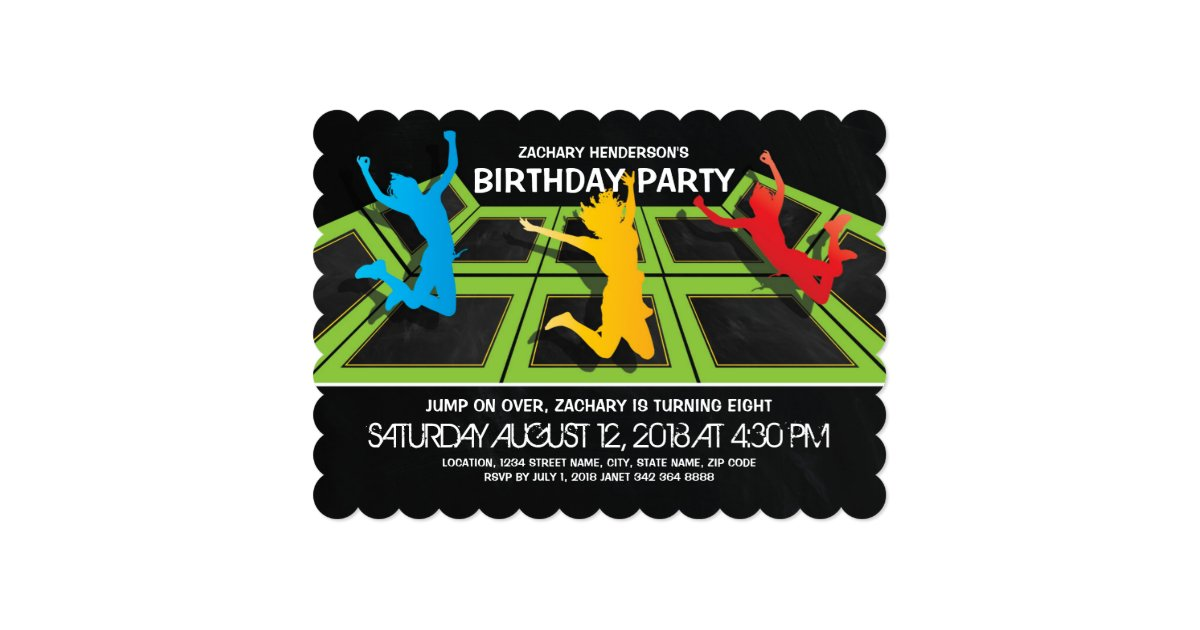 trampoline park kids birthday party invitation zazzle com