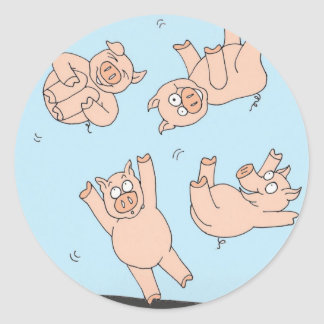Trampoline Pigs Classic Round Sticker