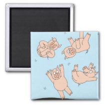 Trampoline Pigs Magnet