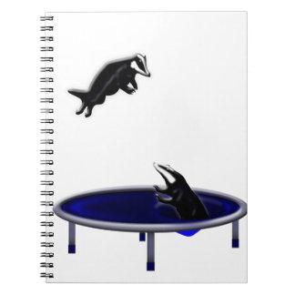 trampolining badgers spiral notebook