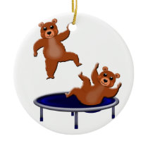 trampolining bears ceramic ornament
