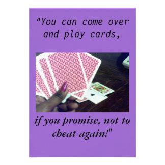 Tramposo de las tarjetas-Don't del juego, invitaci Comunicados