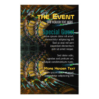 Trance Fractal Gold Feathers Party Flyers
