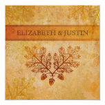 Tranished Lacy Leaves Fall Wedding Invitation