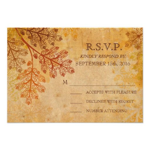 Tranished Lacy Leaves Fall Wedding RSVP Card