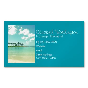 Beach Themed Tranquil and Serene Turquoise Beach in Hawaii Magnetic Business Card