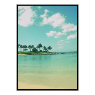 Tranquil and Serene Turquoise Beach in Hawaii Poster
