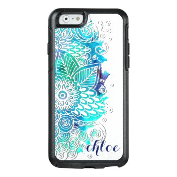 Tranquil Blue And Teal Floral Mandala Design Otterbox Iphone 6/6s Case by BubbleWater at Zazzle