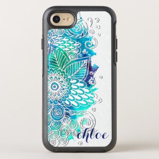 Tranquil Blue and Teal Floral Mandala Design OtterBox Symmetry iPhone 7 Case