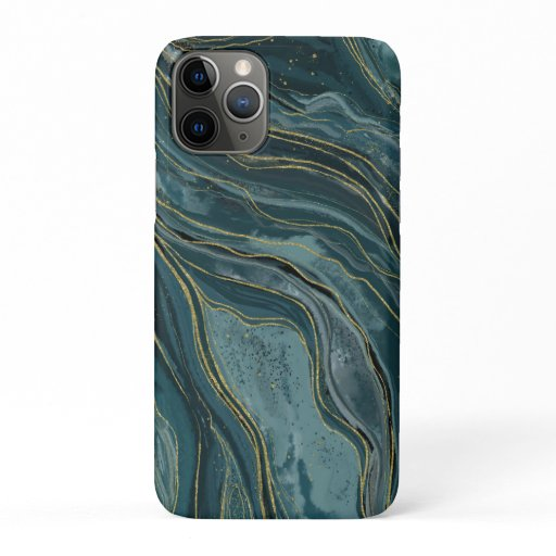 Tranquil Blue Gold Abstract Watercolor iPhone 11 Pro Case
