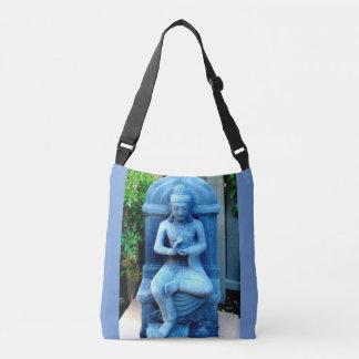 tranquil blue stone  garden Buddha Crossbody Bag