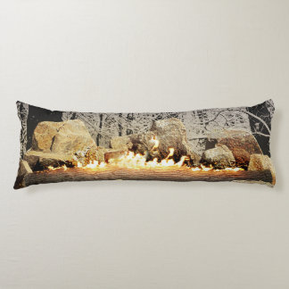 Tranquil Burning Yule Log in a Snowy Forest Body Pillow