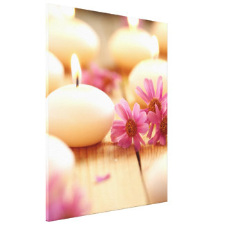 Tranquil candle light floral wood by healinglove gallery wrapped canvas