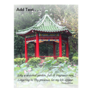 """Tranquil Chinese Garden with Pavilion and Flowers 8.5"""" X 11"""" Flyer"""