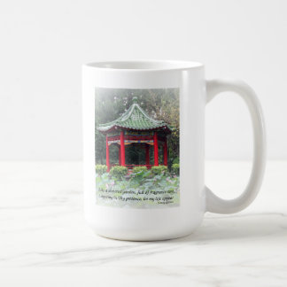 Tranquil Chinese Garden with Pavilion and Flowers Coffee Mug