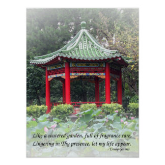 Tranquil Chinese Garden with Pavilion and Flowers Poster