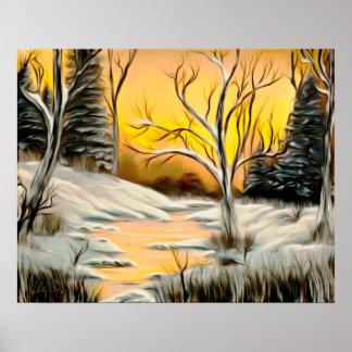 Tranquil Golden Birch Winter Mirage Art Poster