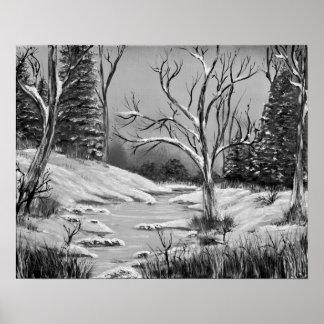 Tranquil Golden Birch Winter Mirage In Black & Whi Poster