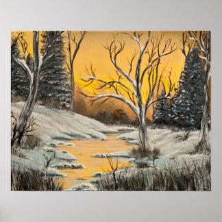 Tranquil Golden Birch Winter Mirage Poster