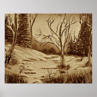 Tranquil Golden Birch Winter Mirage - Sepia Poster