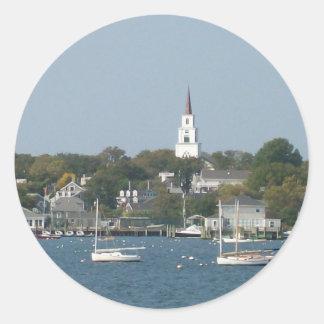 Tranquil Harbor Classic Round Sticker