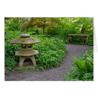 Tranquil japanese garden greeting card