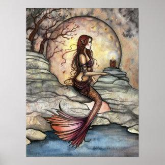 Tranquil Lagoon Mermaid Art Poster