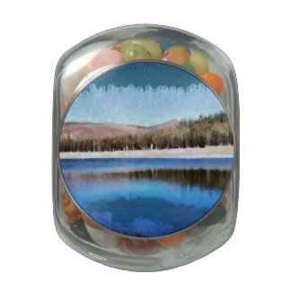 Tranquil lake and wonderful scenery glass jar