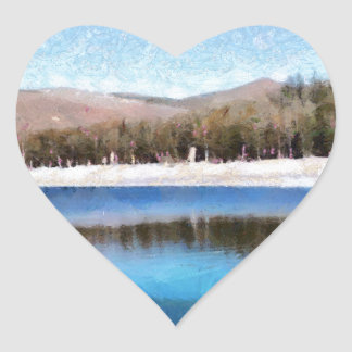 Tranquil lake and wonderful scenery heart sticker