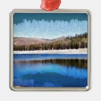 Tranquil lake and wonderful scenery metal ornament