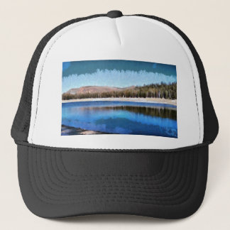 Tranquil lake and wonderful scenery trucker hat