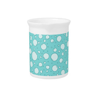 Tranquil Light Turquoise Bubbles Drink Pitcher