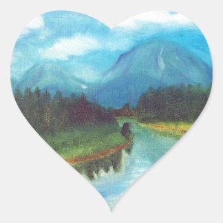 Tranquil Mountain Heart Sticker