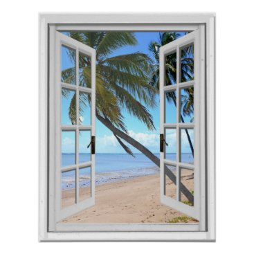 Beach Themed Tranquil Palms and Ocean Artificial Window View Poster