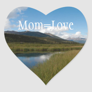 Tranquil River; Happy Mother's Day Heart Sticker