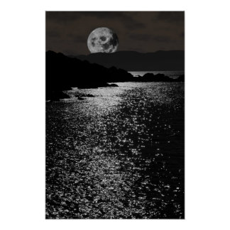 tranquil rocky kerry moonlit night view posters