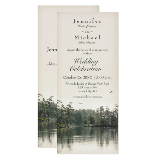 tranquil rustic lake evergreens reflection slender invitation