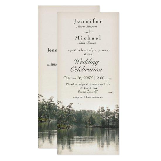 tranquil rustic lake evergreens reflection slender invitation