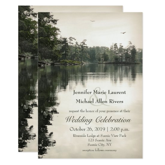 tranquil rustic lake evergreens reflection wedding invitation