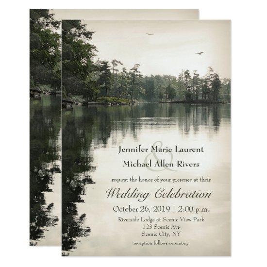 tranquil rustic lake evergreens reflection wedding invitation