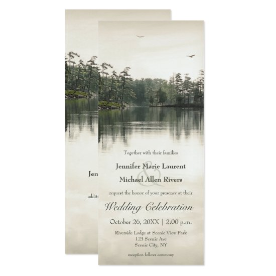 tranquil rustic lake reflection slender wedding invitation