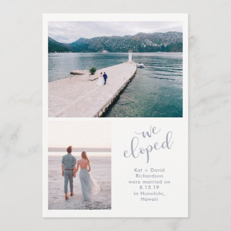 Tranquil Seas | Two Photo We Eloped Announcement
