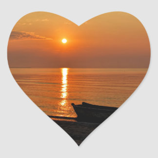 Tranquil Sunrise Heart Sticker