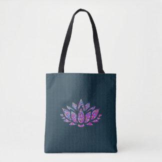 Tranquil Teal & Rainbow Lotus Flower Tote Bag