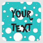 Tranquil Turquoise Bubbles Square Sticker