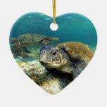Tranquilidad de la tortuga de mar en laguna subacu ornamentos de navidad