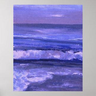 Tranquility 2 Purple Sea Waves Art Ocean Decor Poster