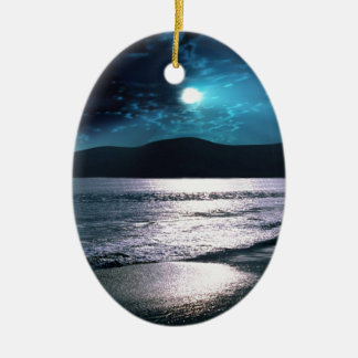 Tranquility Beach Moonrise Ceramic Ornament